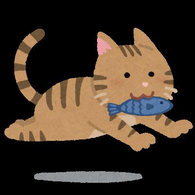 魚をくわえたネコ